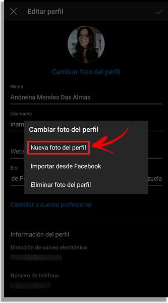 cambiar foto de perfil instagram
