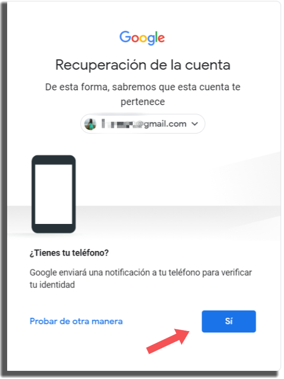 recuperar tu cuenta de Google método 5