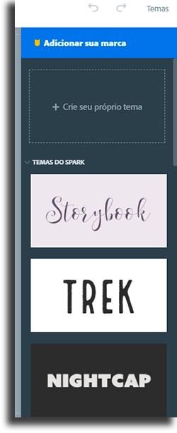 Temas Adobe Spark Page