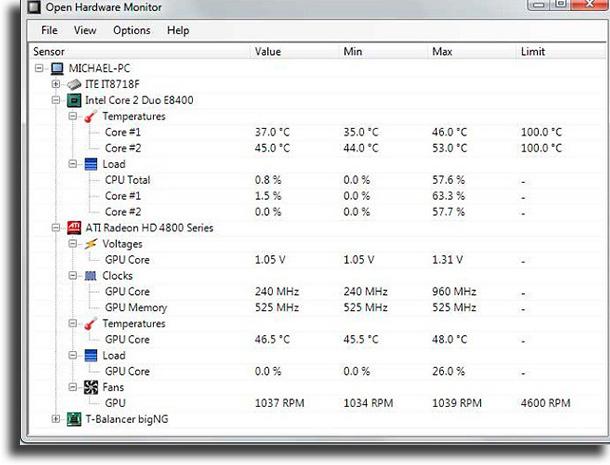 Open Hardware Monitor CPU temperature monitors