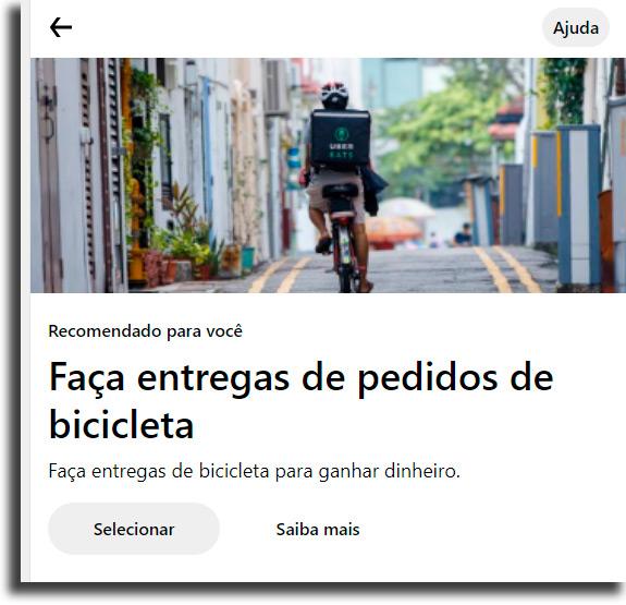 Entregas de bicicleta fazer renda extra no Uber Eats