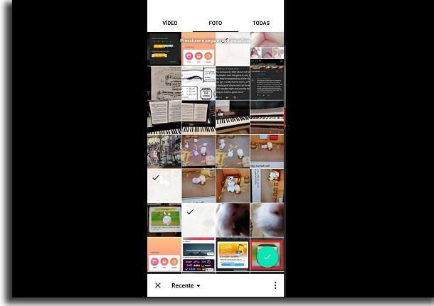 selecionar fotos no app para receber música