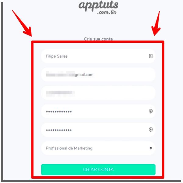 preencha o formulário para terminar de criar a conta