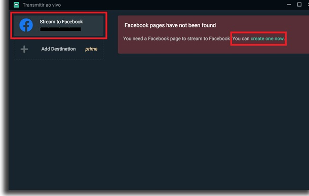 fazer stream no facebook gaming live