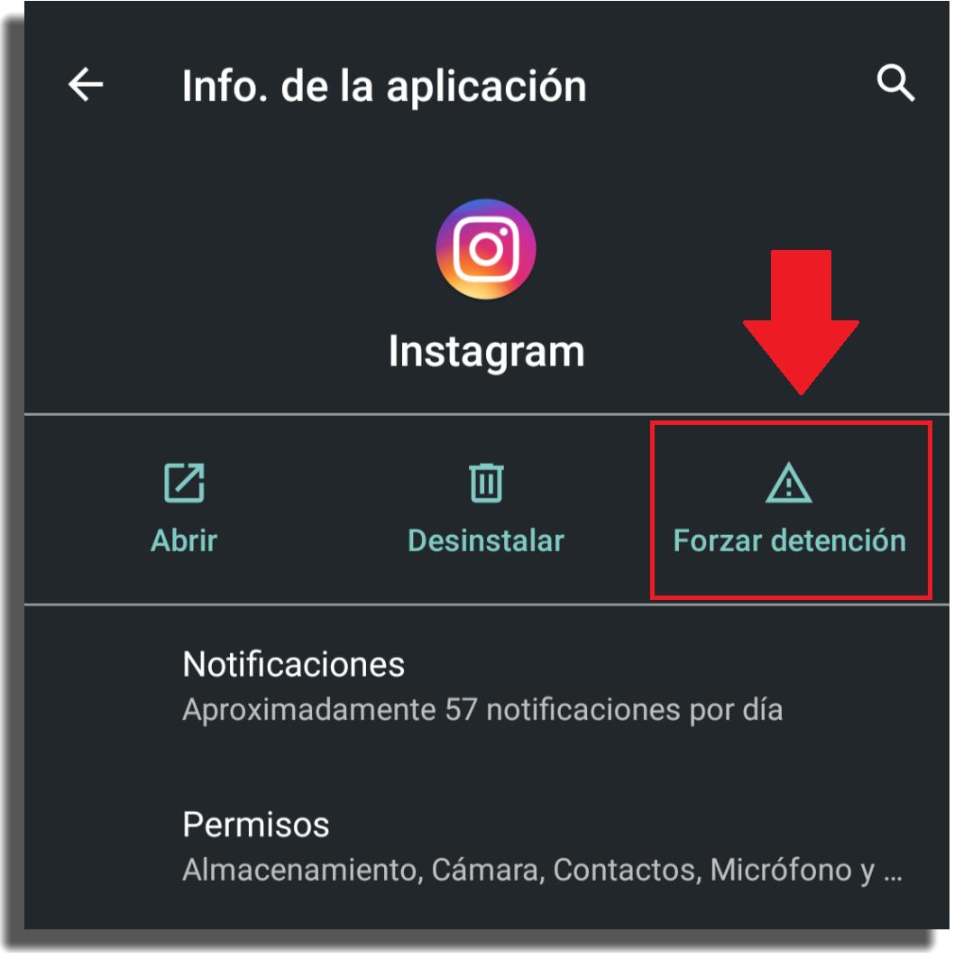 forzar detención de instagram