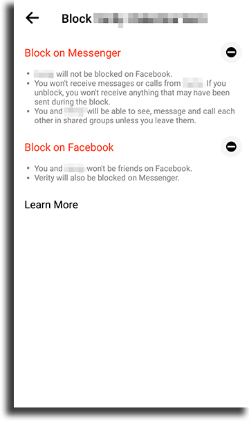 mobile 3 blocked on Facebook Messenger