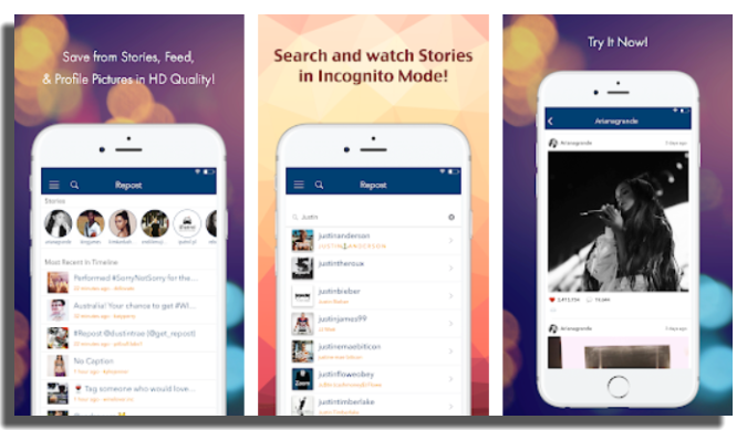 ver las Historias de Instagram de forma anónima repost for ig