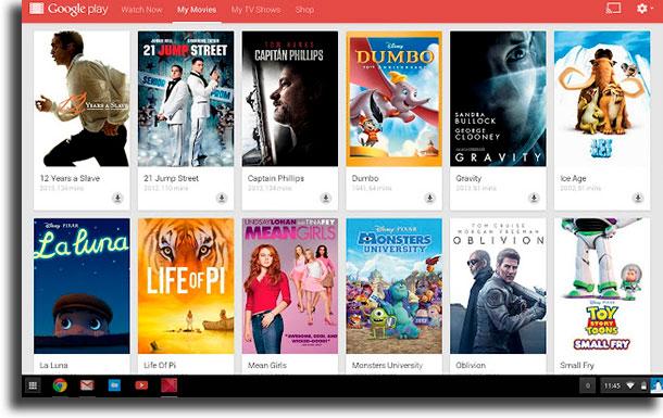 Google Play Movies websites to watch movies