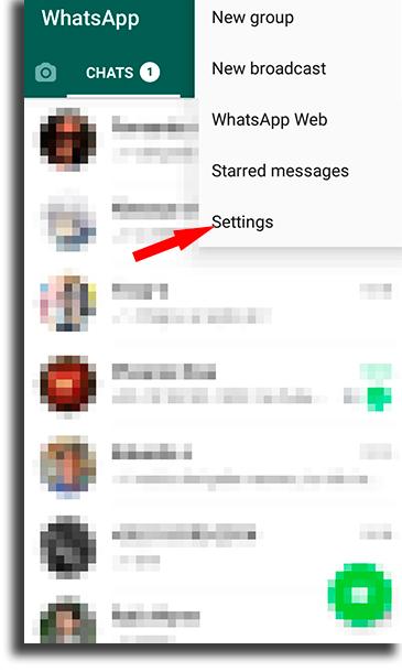 Settings hide online status on WhatsApp