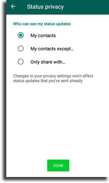 Status options