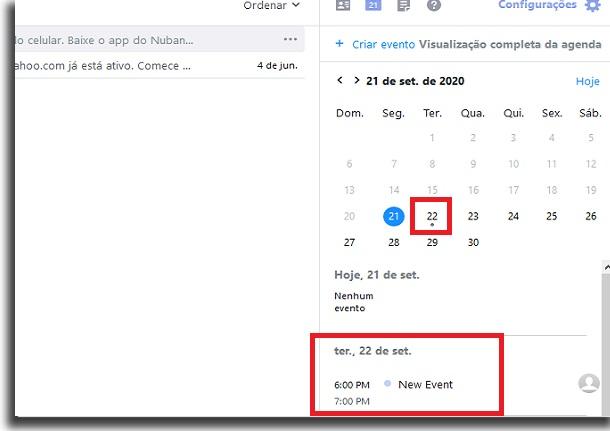 novos eventos no yahoo mail