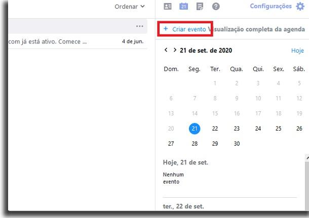 calendário do email