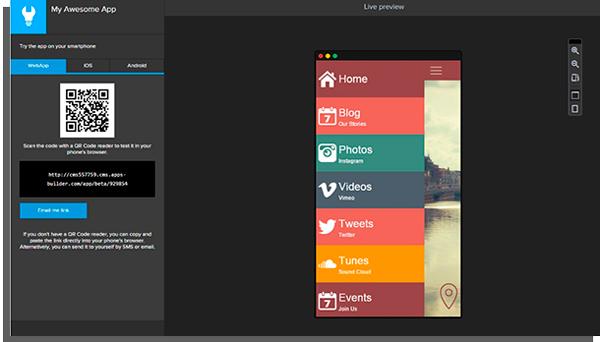 tela do appsbuilder