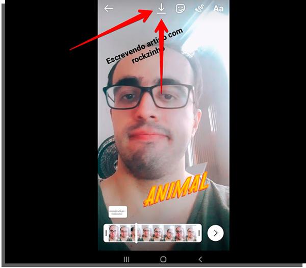 clique na seta para baixar vídeos do instagram reels