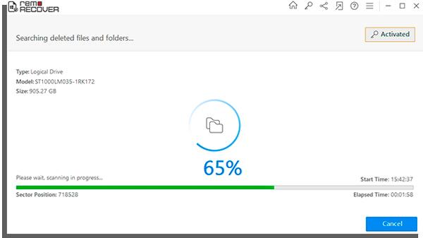 aguarde a análise do computador para começar a recuperar arquivos perdidos