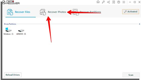 clique em recover photos para começar a recuperar fotos perdidas