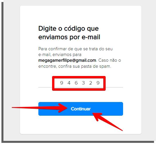use o código do seu email para confirmar criação da conta