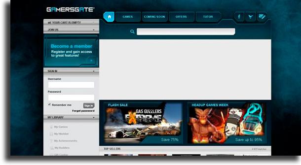 GamersGate websites to download games