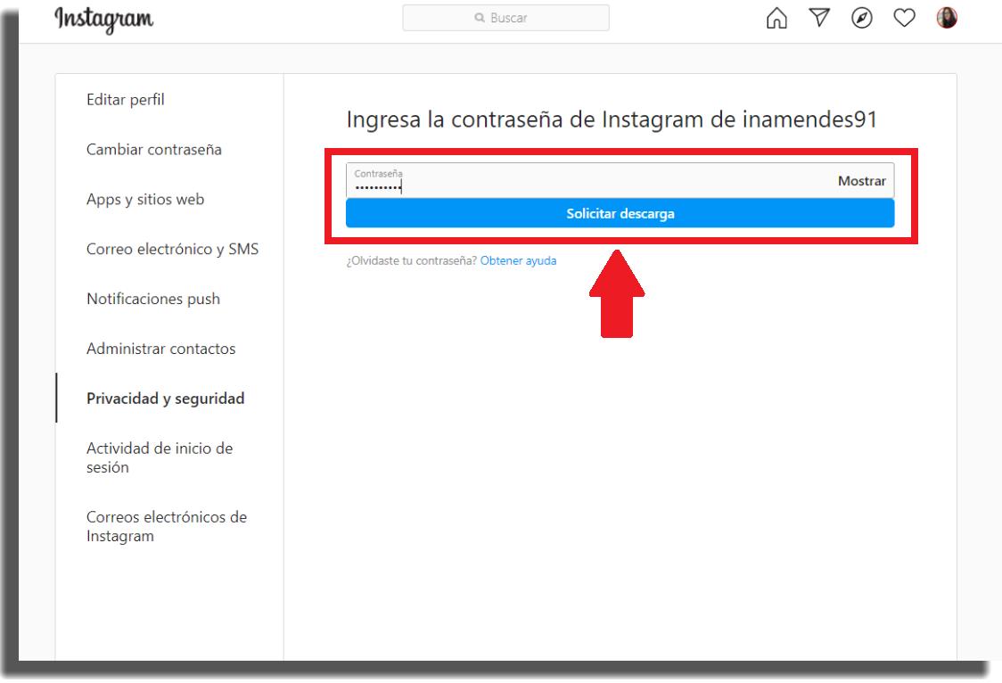 recuperar mensajes borrados en Instagram paso 6