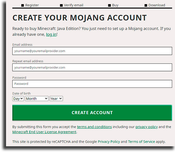 create account play Minecraft for free