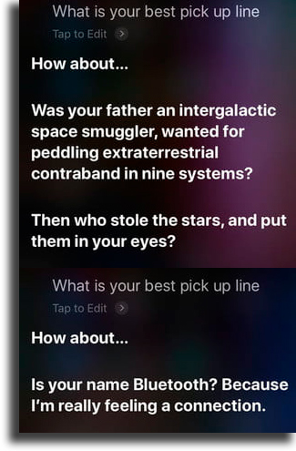 What is your best pick up line? funny things to tell siri