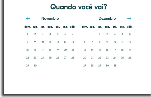 calendário no blablacar