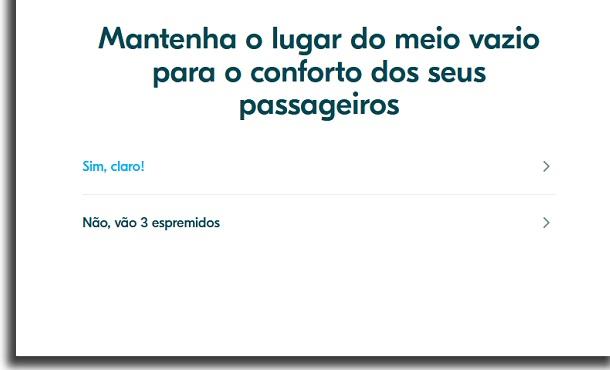 conforto dos passageiros