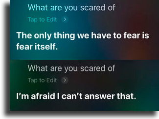 What are you scared of? funny things to tell siri