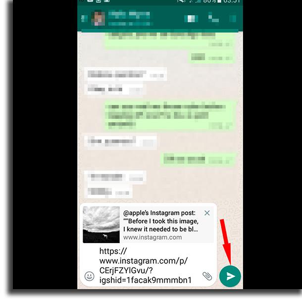 Green arrow share Instagram link on whatsapp