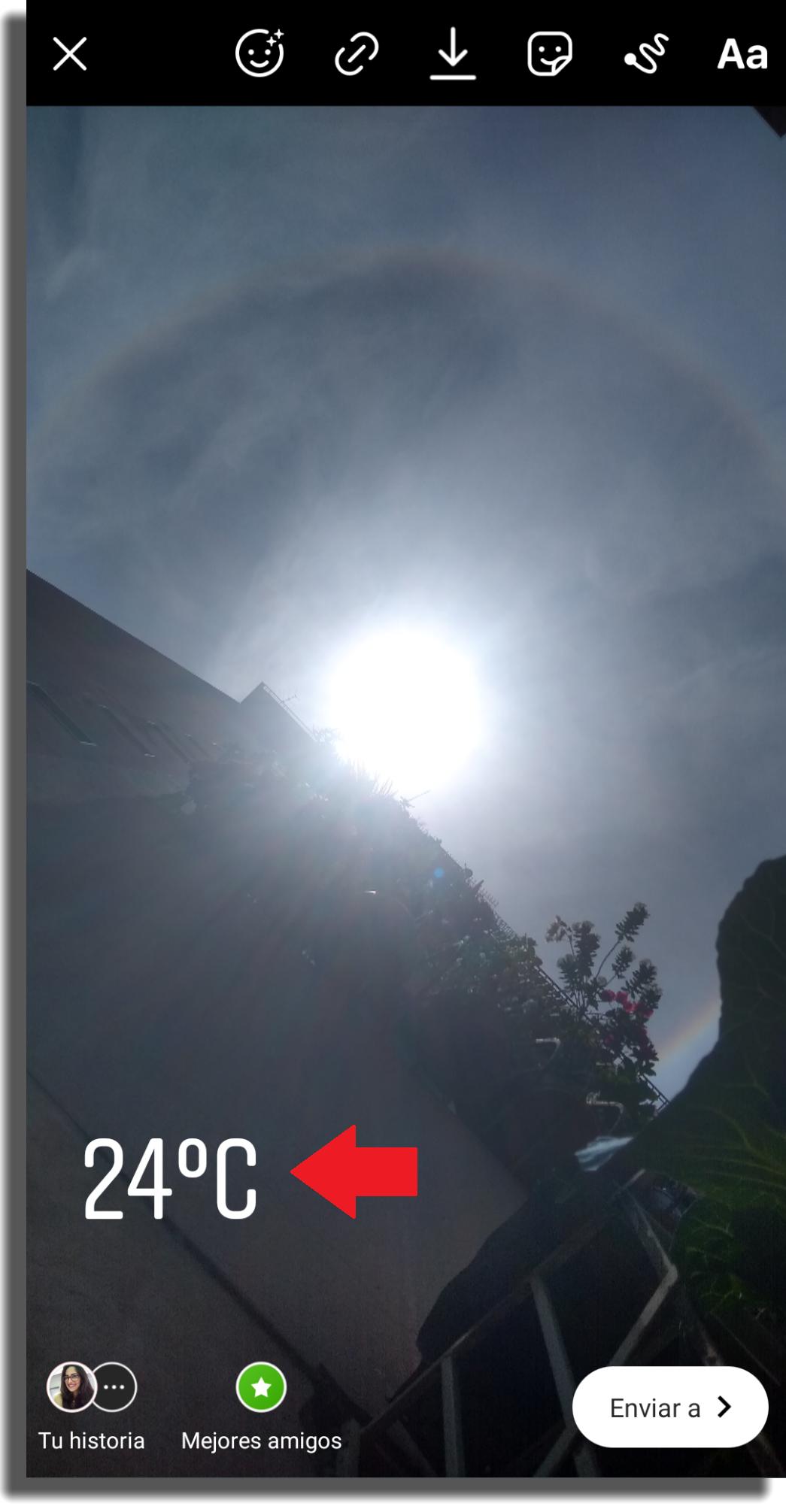 temperatura en las historias de Instagram paso 4