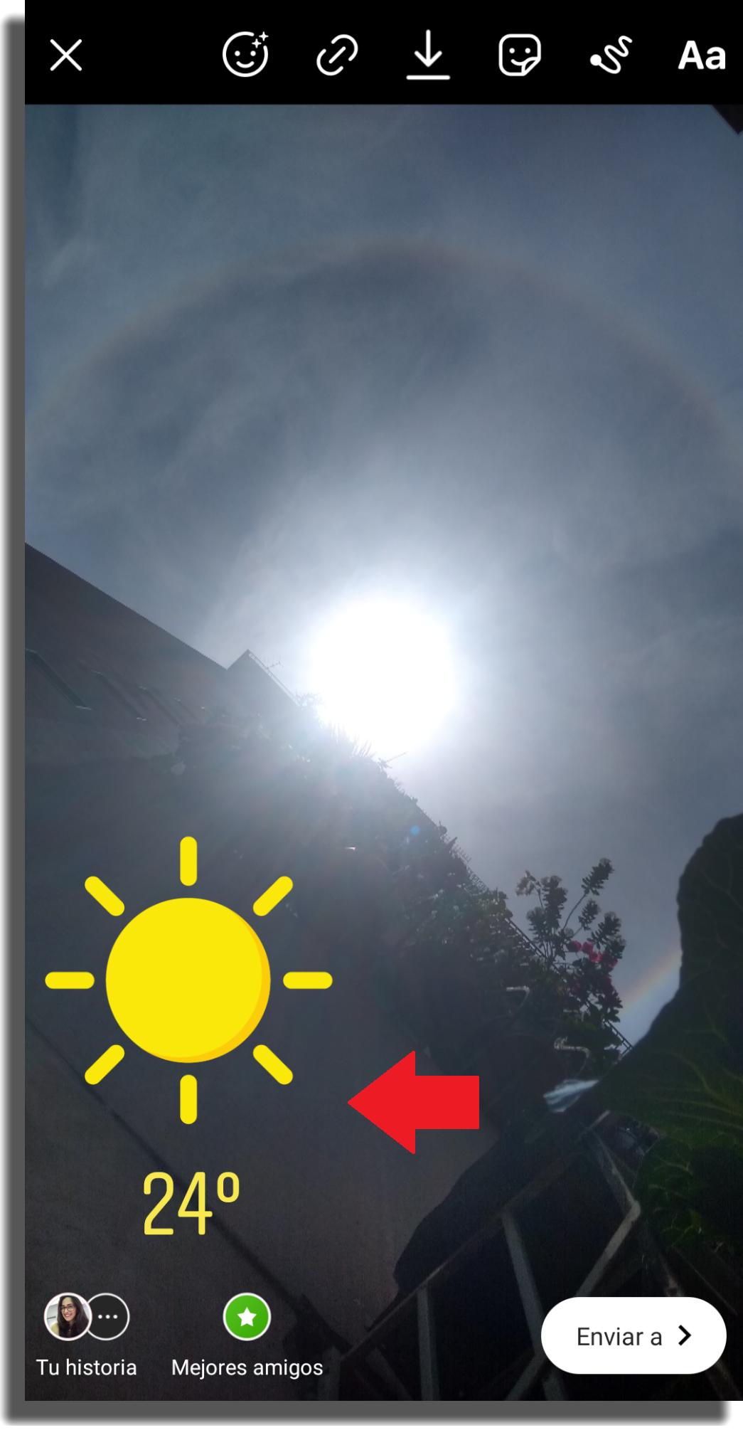 temperatura en las historias de Instagram paso 6