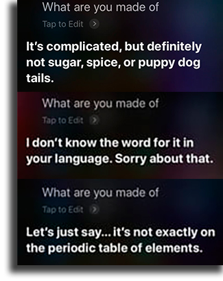 What are you made of? funny things to tell siri