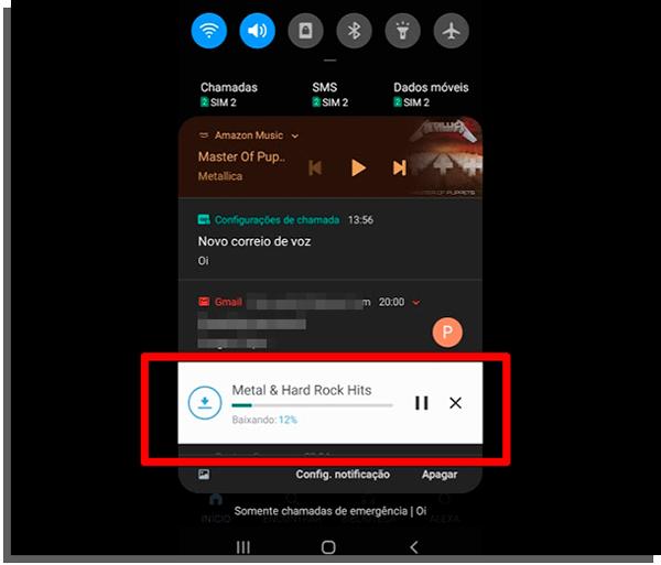 acesse a central de notificações para acompanhar o download