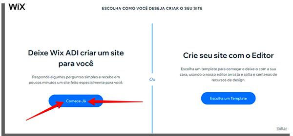 clique em começar já para aprender como fazer um site grátis no Wix