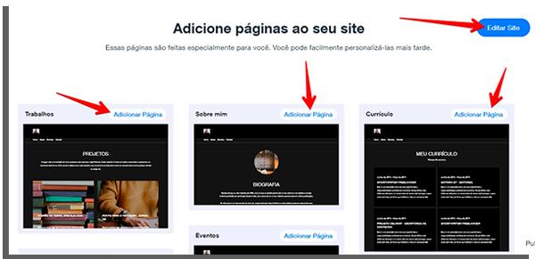escolha as páginas para criar seu site grátis
