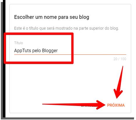 crie o nome do blog