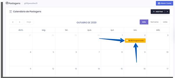 acompanhe seus posts pelo calendário
