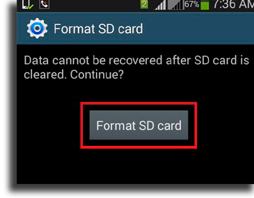 The SD card is no longer being identified common Android problems