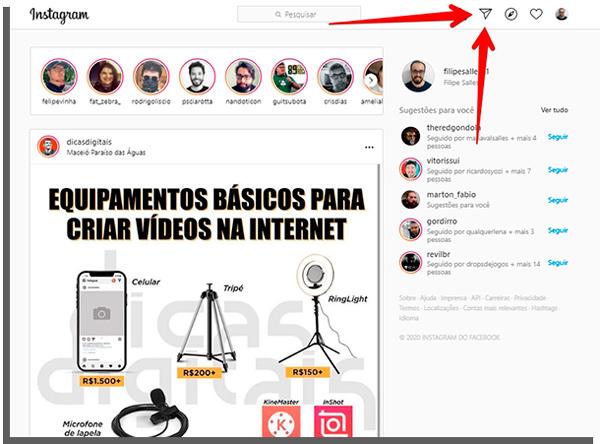 instagram no computador - acesse o direct por ele