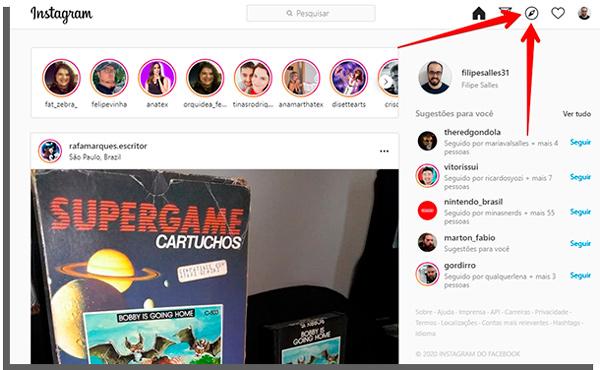o ícone explorar é diferente na versão do Instagram para computador