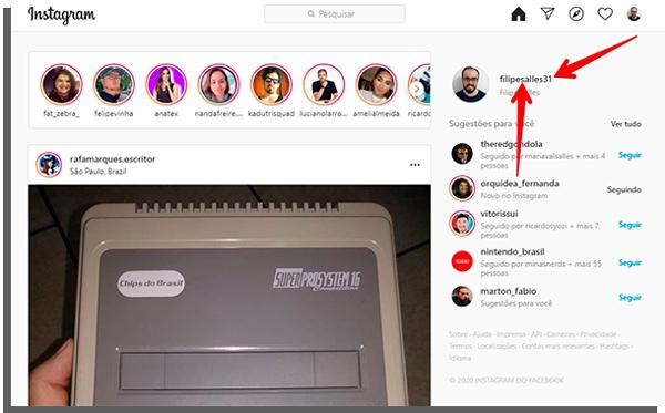 perfil do instagram no computador