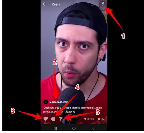 interações do Instagram Reels