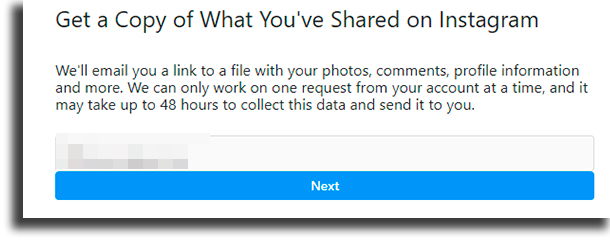 Email recover deleted Instagram messages