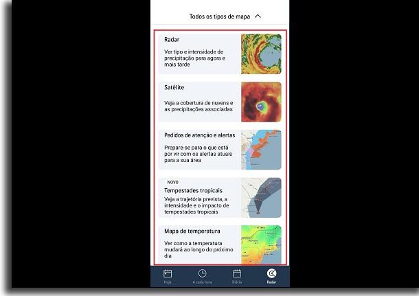 mapas para previsão do tempo