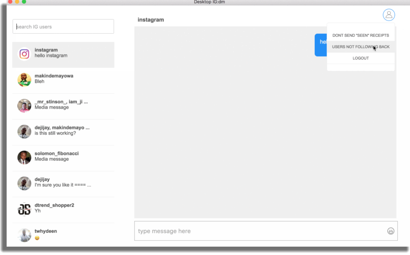 IGdm dejar de seguir usuarios en Instagram