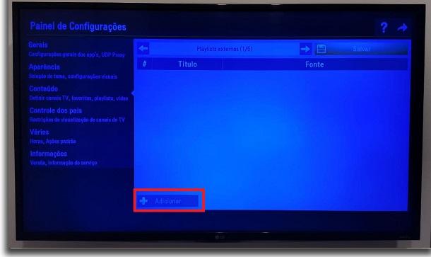 IPTV na Smart TV adicionar
