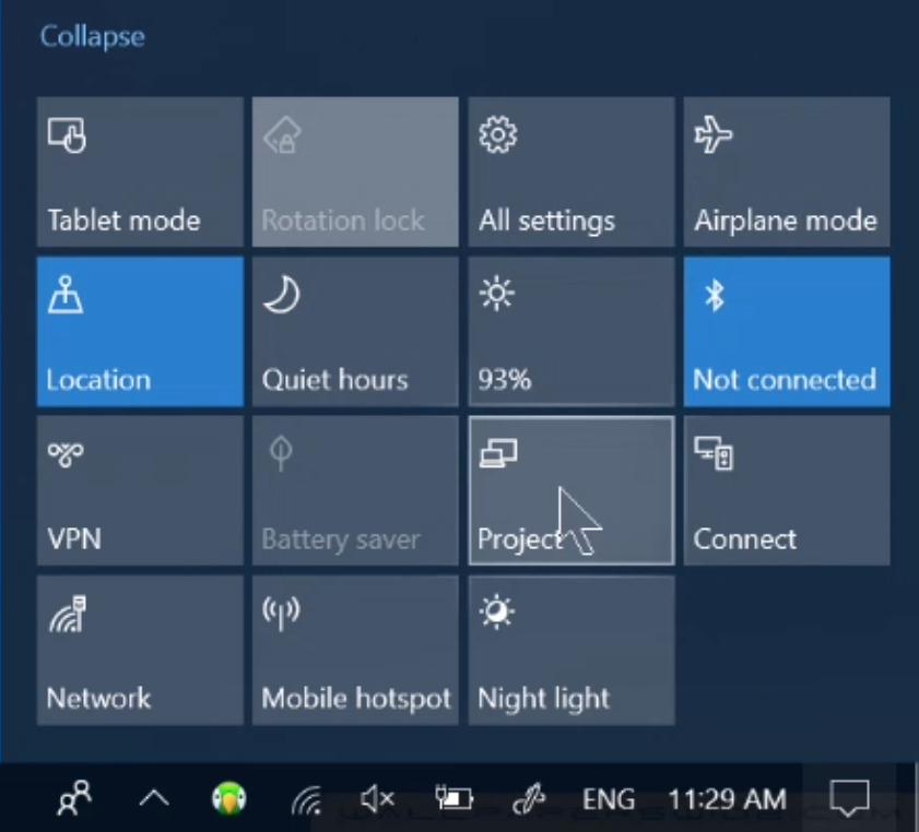 windows 10 project screen