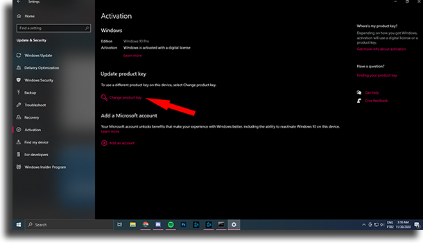 Update product key Your Windows license will expire soon