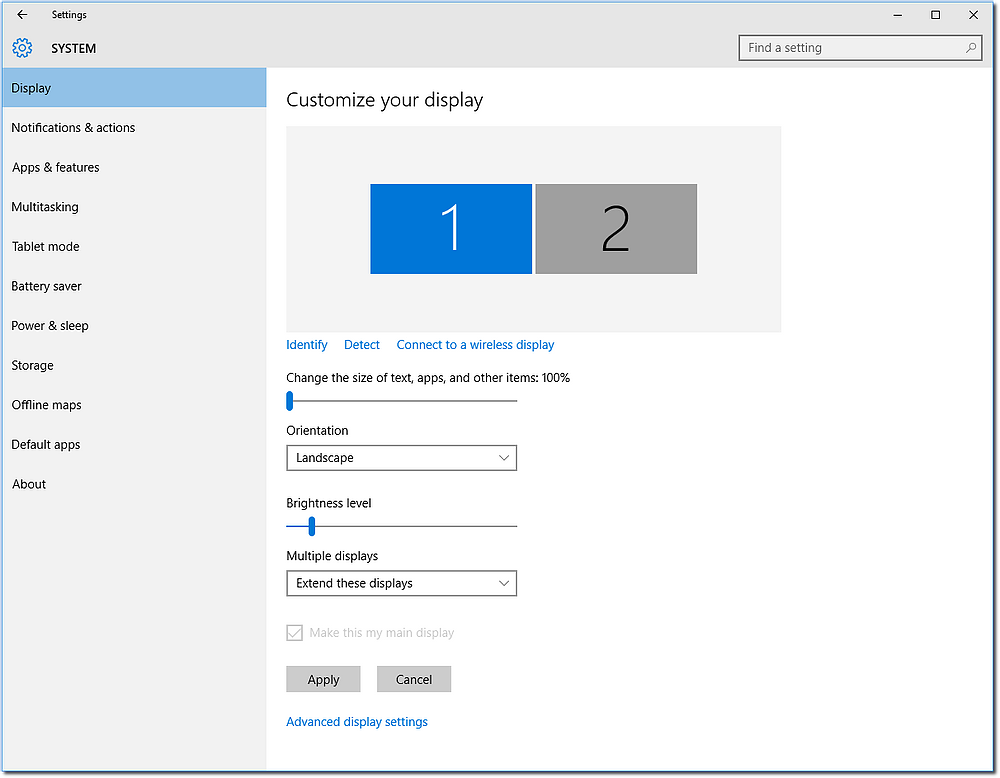 monitors settings page windows 10