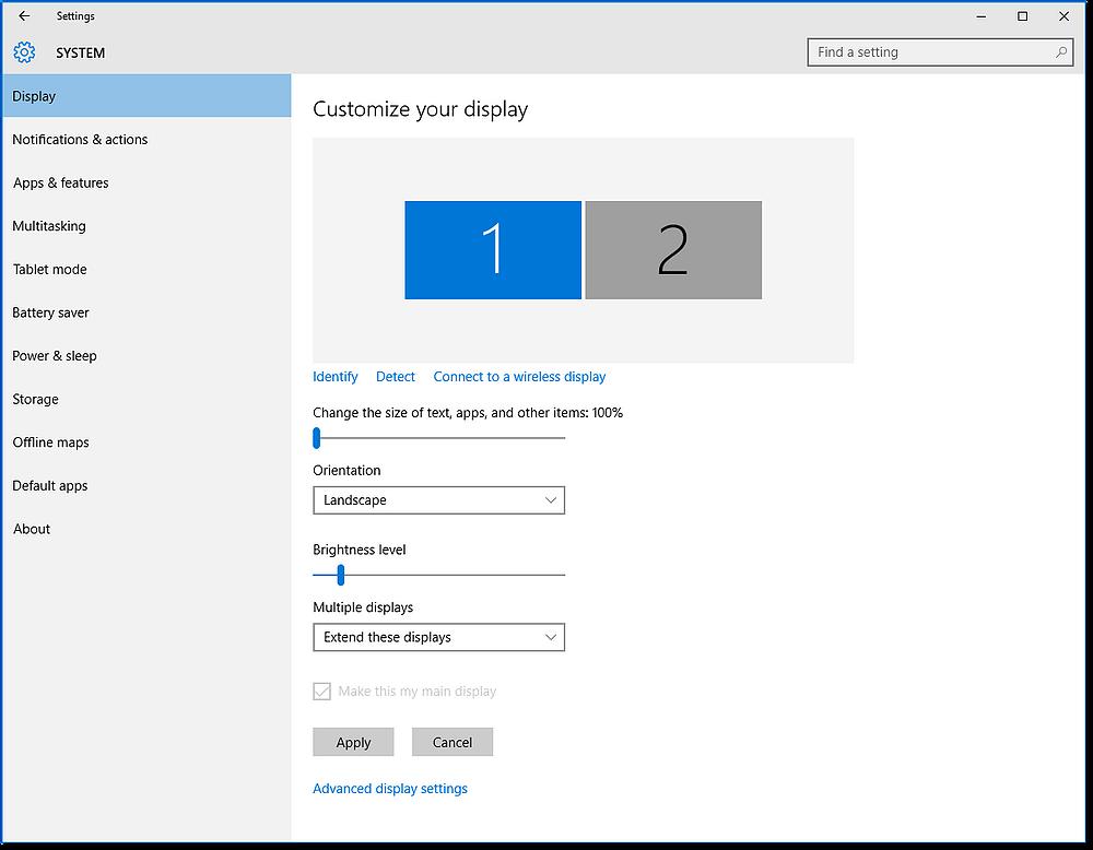 monitors settings page windows 10